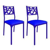 Conjunto 2 Cadeiras De Cozinha CM0206 Pintada Azul Corano Azul