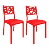 Conjunto 2 Cadeiras De Cozinha CM0206 Pintada Vermelho Corano Vermelho