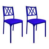 Conjunto 2 Cadeiras De Cozinha CM0207 Pintada Azul Assento Azul