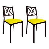 Conjunto 2 Cadeiras De Cozinha CM0207 Pintada Preta Assento Amarelo