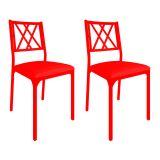 Conjunto 2 Cadeiras De Cozinha CM0207 Pintada Vermelha Assento Vermelho