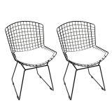 Kit 2 Cadeiras de Jantar Bertoia Preto & Branco Mobizza