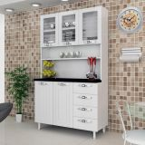 Armário Cozinha Class Slim Kit –5PT – 4GV C/Vidro Aço Branco