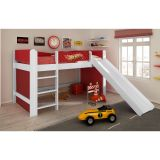 Cama Infantil Hot Wheels Play com Escorregador Branco