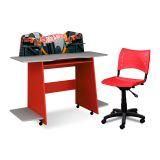 Conjunto Escritório Infantil Escrivaninha e Cadeira Hot Wheels Vermelho