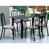 Conjunto Mesa Lisboa e 6 Cadeiras Madri Preto & Branco Floral