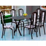 Conjunto Mesa Miame e 6 Cadeiras Granada Preto & Branco Floral