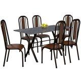 Conjunto Mesa Miame e 6 Cadeiras Granada Preto & Madeirado