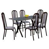 Conjunto Mesa Miame e 6 Cadeiras Granada Preto & Preto Listrado
