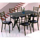Conjunto Mesa Miame e 6 Cadeiras Monaco Preto & Preto Floral