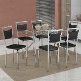 Conjunto de Mesa 387 e 6 Cadeiras 163 Preto