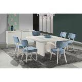 Conjunto de Mesa 6 Cadeiras Ariele Branca & Azul