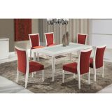 Conjunto de Mesa 6 Cadeiras Ariele Branca & Vermelha