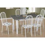 Conjunto de Mesa Barcelona e 6 Cadeiras Sevilha Branco Floral