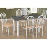 Conjunto de Mesa Barcelona e 6 Cadeiras Sevilha Branco e Caramelo