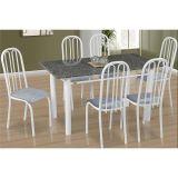 Conjunto de Mesa Barcelona e 6 Cadeiras Sevilha Branco e Cinza