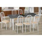 Conjunto de Mesa Cordoba com 8 Cadeiras Sevilha Branco, Caramelo