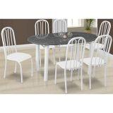 Conjunto de Mesa Milão e 6 Cadeiras Sevilha Branco
