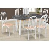 Conjunto de Mesa Milão e 6 Cadeiras Sevilha Branco e Caramelo
