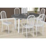 Conjunto de Mesa Milão e 6 Cadeiras Sevilha Branco e Cinza