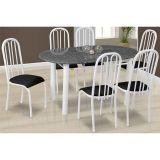 Conjunto de Mesa Milão e 6 Cadeiras Sevilha Branco e Preto
