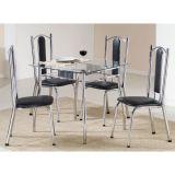 Conjunto de Mesa e 4 Cadeiras Bela Prata & preto