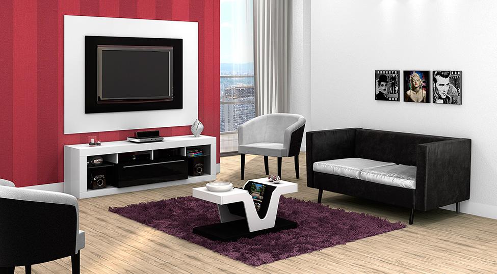 Sala De Estar Branca E Preto ~ Mobly INSPIRAÇÃO Sala de Estar Modernidade em Preto e Branco