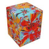 Puff Quadrado - Tecido VD - Floral Vermelho