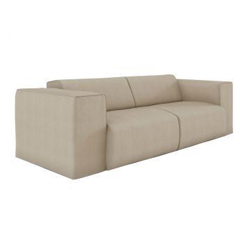 Sofá 3 Lugares Comfort Eco Algodão Bege Mobly Comfort