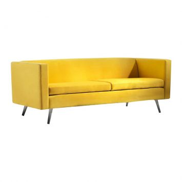 Sofá 3 Lugares Lovely Sued Amarelo Mobly Lovely