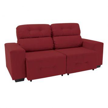 Sofá 3 Lugares Retrátil e Reclinável Plaza Suede Vermelho Linoforte Mobly Plaza