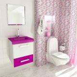 Conjunto Gabinete Vetro 43 cm 1 Gaveta 1 Porta Branco & Violeta