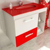 Gabinete Linea 12 - 80 cm 1 Porta 1 Gaveta Branco & Vermelho