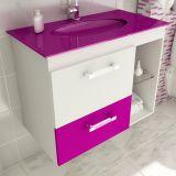Gabinete Linea 12 - 80 cm 1 Porta 1 Gaveta Branco & Violeta
