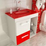 Gabinete Linea 12 – 60 cm 1 Porta 1 Gaveta Branco & Vermelho