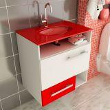 Gabinete Linea 17 – 60 cm 1 Porta 1 Gaveta Branco & Vermelho