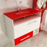 Gabinete Linea 17 – 80 cm 1 Porta 1 Gaveta Branco & Vermelho