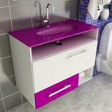Gabinete Linea 17 – 80 cm 1 Porta 1 Gaveta Branco & Violeta