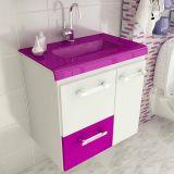 Gabinete Vetro 60 cm 2 Portas 1 Gaveta Branco & Violeta