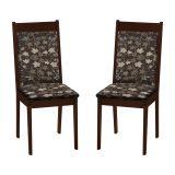 Kit 2 Cadeiras de Jantar Rubi Castanho & Jacard Floral Marron ModoCasa