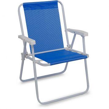 Cadeira de Praia Alta Ferro Sannet Azul Mor Cadeira Sannet