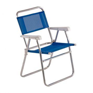 Cadeira de Praia Master Alumínio Azul Mor Cadeira Master Alumínio