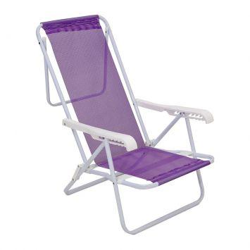 Cadeira de Praia Reclinável Ferro Sannet Lilás 8 Posições Mor Cadeira Sannet