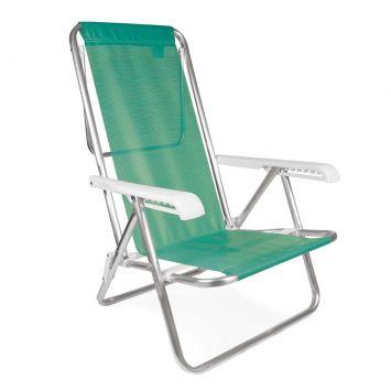 Cadeira de Praia reclinável 8 posições Alumínio Sannet Verde - Maçã Mor Cadeira reclinável 8 posições Alumínio Sannet