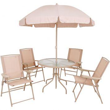 Conjunto para Jardim Malibu com 1 Mesa, 4 Poltronas dobráveis e 1 Guarda - Sol Bege Mor Malibu