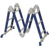 Escada Multifuncional 4 x 3 12 Degraus Azul e Prata