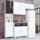 Cozinha Compacta 4 Peças Talita Branco Preto - Movemax