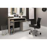 Mesa para Home Office com Nichos e 2 Gavetas Movelbento - Grigio/Branco