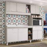Cozinha Compacta Giulia COM079-GBC Grigio e Branco Movelbento