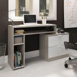 Mesa para Computador com 2 Gavetas Multifuncional Grigio e Branco Movelbento